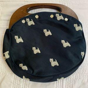 Vintage bag, navy with dog print & wooden handles